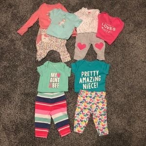 Lot of Carter's Newborn Outfits